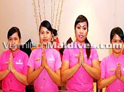Beautiful and friendly staff of Spa in Hulhule Island Hotel