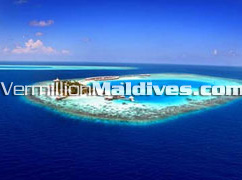 Aerial View of Luxury 5 star hotel Huvafenfushi Island Beach Resort Maldives