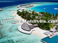 Aerial View:  Main Restaurant & Pool Huvafenfushi Maldives Resort