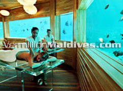 Under Water Spa at the Luxury Spa resorts of Huvafenfushi Maldives