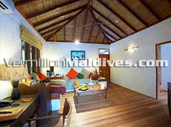 Funa Pavilions Living Room of the luxury Hideaway five star Resort in Maldives