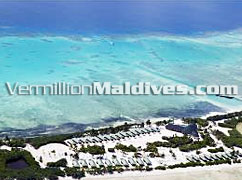 Aerial Picture of Handhu fushi Maldives resort hotel in Addu / Seenu Atoll