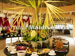Buffet Breakfast set with a Maldivian touch at Handhufushi Maldives