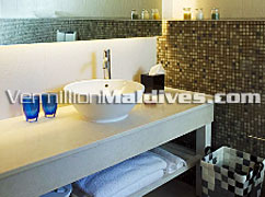Bathroom Vanity at the Beach Villa at Hotel HolidayInn Resort Kandooma Maldives