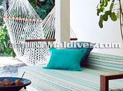 Beach Villa Lounge Deck at HolidayInn Resort Kandooma Maldives