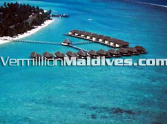 Hotel Kanuhuraa Water Villas are spread over the lagoon of Kanuhura