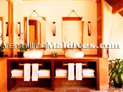 Water Villa Bathroom at Kanuhuraa Maldive Beach Resort