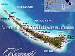 Island picture and map of Kuramathi Maldives Resorts – Ari Atoll Hotel Maldives