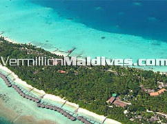 Aerial picture of Water Bungalows at Kuramathi Cottage Maldives