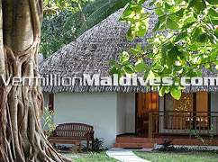 Maldivian styles tropical accommodations at Kuramathi Cottage Maldives