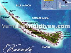 Kuramathi Island Map picture. The resort with three hotels