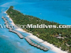 Aerial Picture of Kuramathi Blue Lagoon with Water bungalows