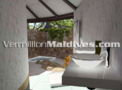 Bathroom with Open air Shower – Kuramathi Island Resort Maldives