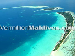 Aerial Picture of Kuramathi Island, a beach resort Hotel of Maldives