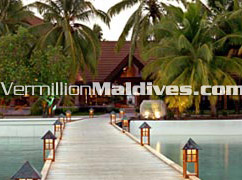 Arrival jetty to Kurumba Maldives resort hotel. Walk by the clear waters to the reception