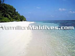 Beach around the island of Madoogali Resort Hotel Maldives