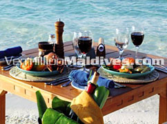 Beach lunch or dinner on the beach of Makunudu resort Maldives