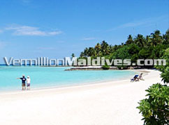 Beautiful holiday island of Maldives beach resort hotel Makunudu