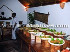 Buffet serving varieties of food at Maldives hotel Makunudu.