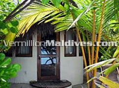 Makunudu island bungalows, just few meters away from beach & water