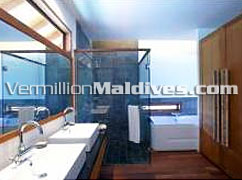Bathroom of Water Villas in Maldives hotel Medhufushi