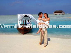 Honeymoon Couple Transferred to shore from honeymooners bungalow