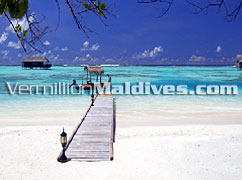 Honeymoon Water Villas & the small transfer boat. Honeymooners Holiday place