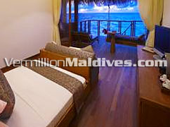 Luxury Water Villa bedroom Accommodation of Medhufushi Island Resorts Maldives