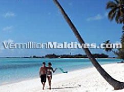 Beautiful beach of four star resort hotel Meeru Island Maldives