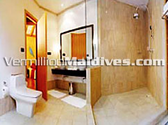 Bathroom of Beach Villas at Mirihi Island Resort hotel Maldives