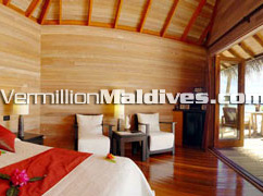 Beach Villa at Hotel Mirihi Maldive. Spacious cozy accommodation