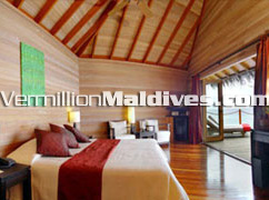 Spacious Water Villa Accommodation of resort hotel Mirihi Island Maldives