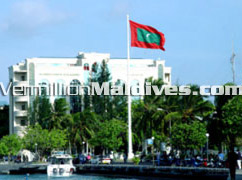 The heart of the capital island Male' Maldives, with the Maldivian flag