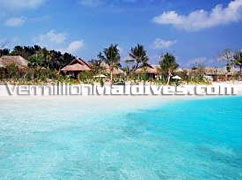 A glittering tropical lagoon. Perfect Maldivian island for Holidays