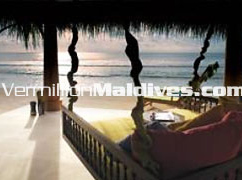 Beautiful view of Sunset & lagoon from your private villa house in Naladhu