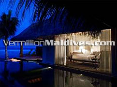 The House at Night in the Maldives Luxury Hotel Naladhu