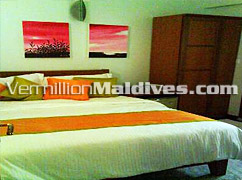 Bedroom for your Holiday in Beehive Hotel Nalahiya in capital of Maldives