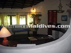Beach Villas Rooms inside. Maldivian style and tropical concept