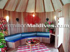 Living Area  of Water Villa at Nika Maldives : Spacious & affordable packages