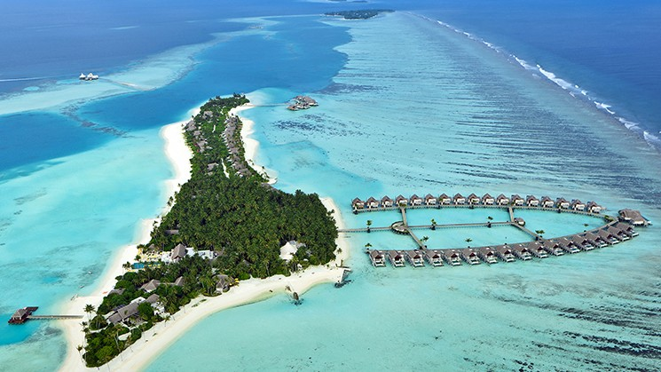 Aerial view of Niyama Maldives. The first resort with an underwater Night Club