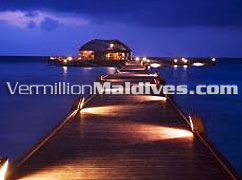 Jetty at Night of Olhuveli. A Luxury resort island in the Maldives