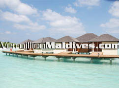 The Haven Water Villas connected with a jetty to Paradise Island Maldives