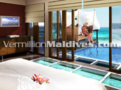 Private pool over the ocean at the Holiday Resort Konottaa Maldives