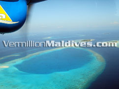 Scenic flight to Gaafu Dhaalu Atoll where the island hotel is built