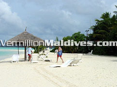 Soft white sandy beaches of Ranveli Island Maldives