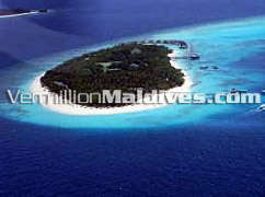 Aerial photograph of Maldives Reethi Beach resort island