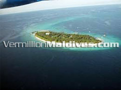 Aerial picture of Reethi Beach Resort hotel Maldive