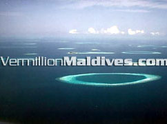 Baa Atoll Maldives from air to be seen during your transfer to Reethi beach hotel