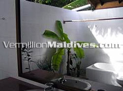 Open Air Shower of the Deluxe Villa in Reethi Beach Resort  Maldives