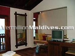 Sitting area of Spacious Water Villa at rethi beach Maldives